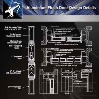 【Architecture CAD Details Collections】Aluminium Flush Door Design CAD Details